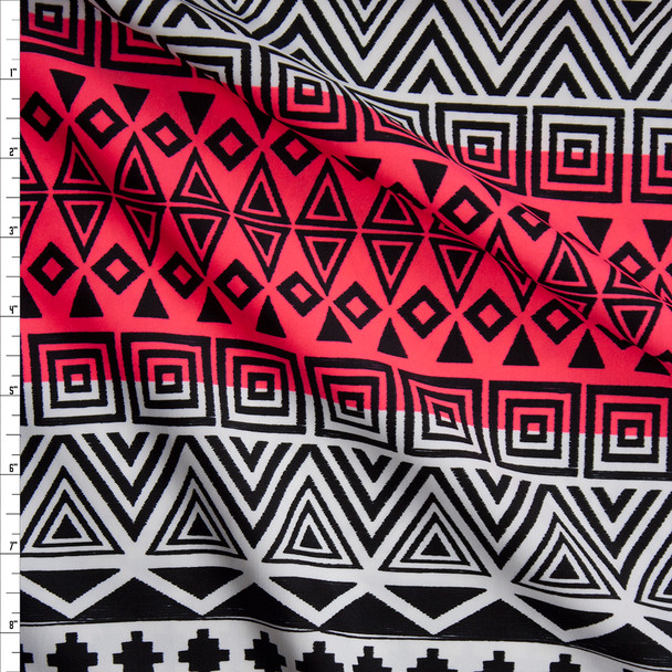 Black Tribal on Neon Pink and White Gradient Stripe Midweight Nylon/Spandex Fabric By The Yard