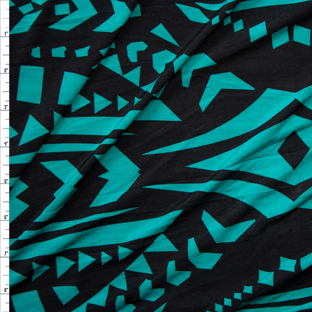 Emerald and Black Large Tribal Pattern Poly/Spandex Knit Fabric By The Yard