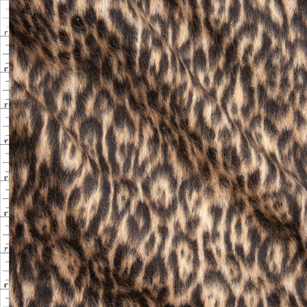 Leopard Print Designer Wool Coating Fabric By The Yard