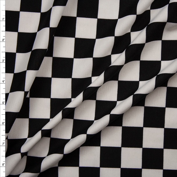 Black and White Checkered Midweight Ponte De Roma Fabric By The Yard