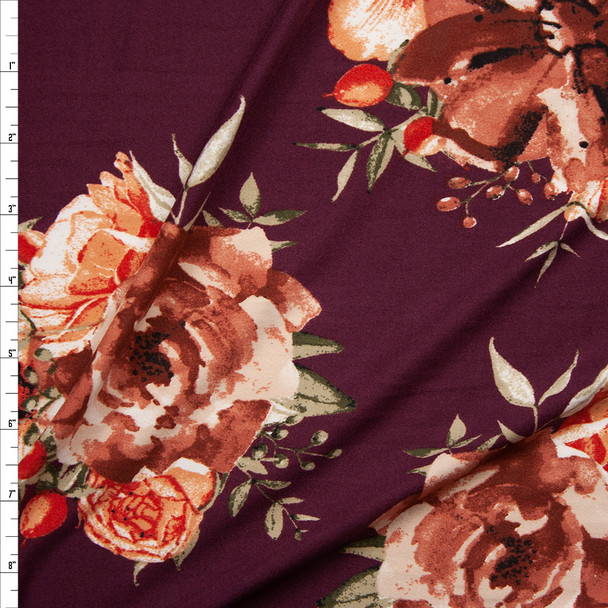 Rust, Peach, and Tan Floral on Wine Double Brushed Poly Spandex Knit Fabric By The Yard