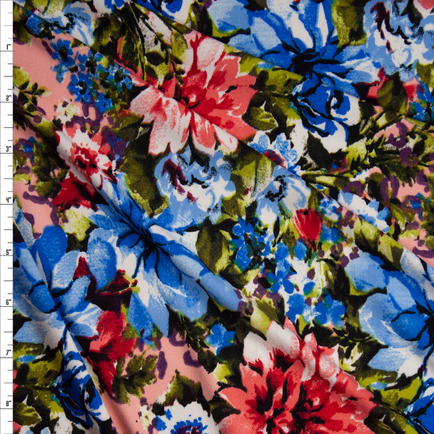 Pink, Blue, and Green Floral on Blush Double Brushed Poly Spandex Knit Fabric By The Yard