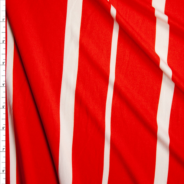 White and Red Vertical Barcode Stripe Double Brushed Poly Spandex Knit Fabric By The Yard