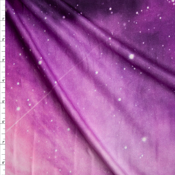 Purple Galaxy Double Brushed Poly Spandex Knit Fabric By The Yard