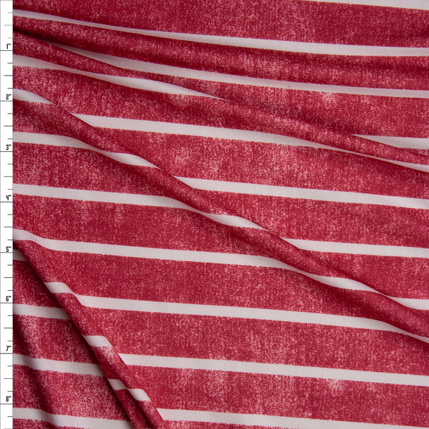 White Horizontal Stripe on Grunge Red Denim Look Print Double Brushed Poly Spandex Knit Fabric By The Yard