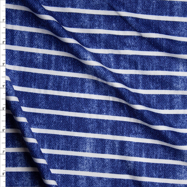 White Horizontal Stripe on Grunge Blue Denim Look Print Double Brushed Poly Spandex Knit Fabric By The Yard