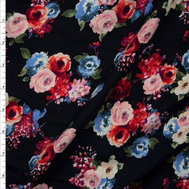 Pink, Red, and Ivory Rose Floral on Black Rayon Challis Fabric By The Yard