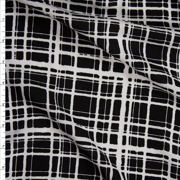 White on Black Painted Grid Rayon Challis Fabric By The Yard