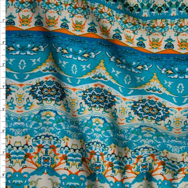 Turquoise, Orange, and Ivory Bohemian Stripe Rayon Challis Fabric By The Yard
