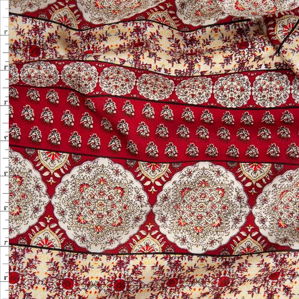Burgundy and Ivory Bohemian Stripe Rayon Challis Fabric By The Yard