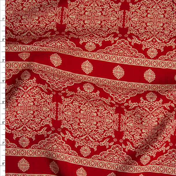 Red and Tan Bohemian Stripe Rayon Challis Fabric By The Yard