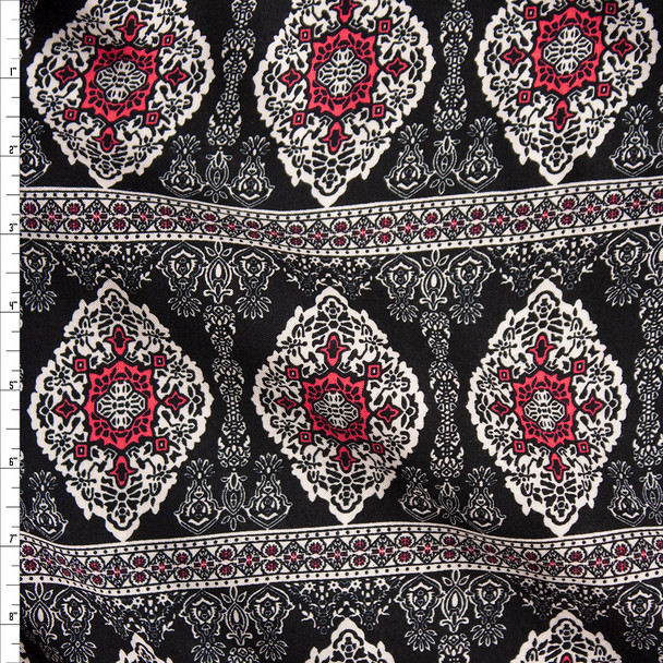 Black, Ivory, and Hot Pink Bohemian Stripe Rayon Challis Fabric By The Yard