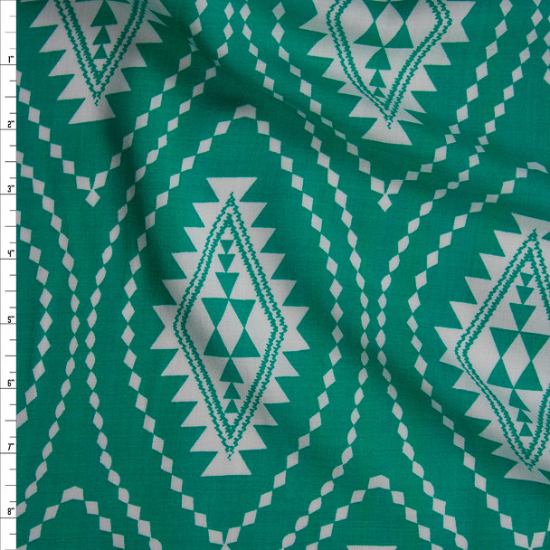 White Tribal Medallions on Bright Green Rayon Challis Fabric By The Yard