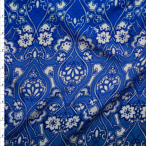 Floral Scrollwork on Blue Ombre Rayon Challis Fabric By The Yard