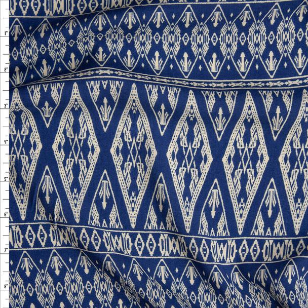 Ivory on Dark Slate Diamond Bohemian Stripe Rayon Challis Fabric By The Yard