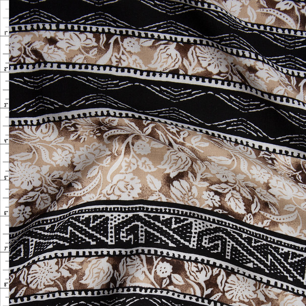 Black, Tan, and Ivory Floral Tribal Stripe Rayon Challis Fabric By The Yard