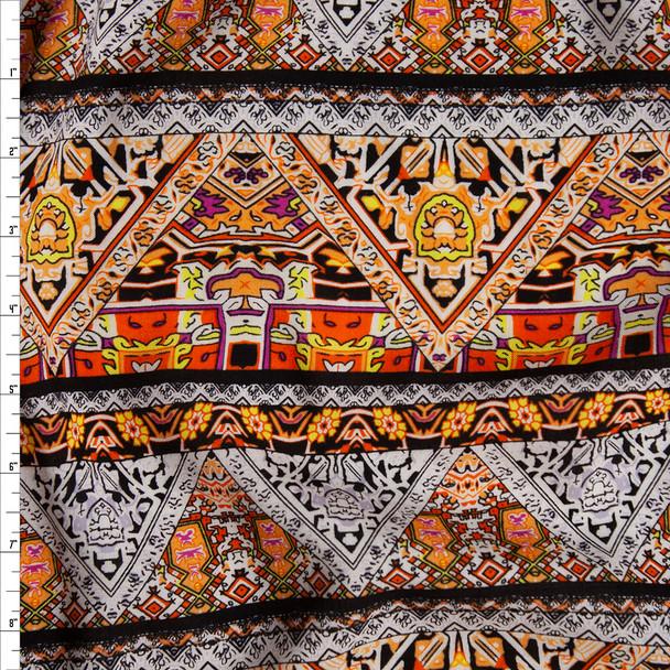 Orange, Peach, and White Bohemian Stripe Rayon Challis Fabric By The Yard