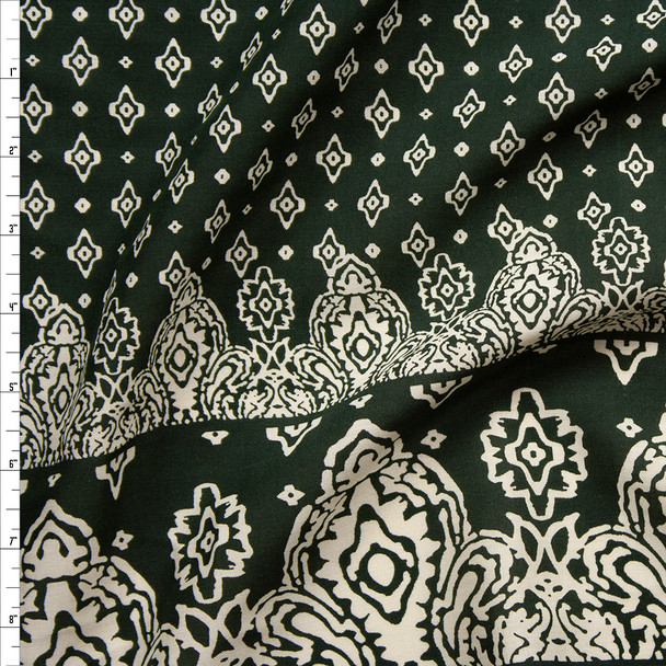 Ivory on Dark Olive Green Border Print Rayon Challis Fabric By The Yard