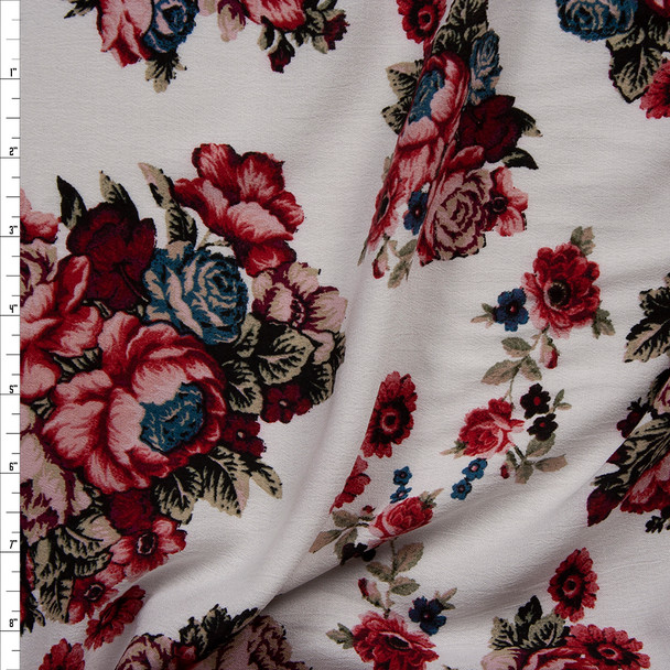 Wine, Pink, Tan, and Blue Rose Floral on Offwhite Rayon Challis Fabric By The Yard