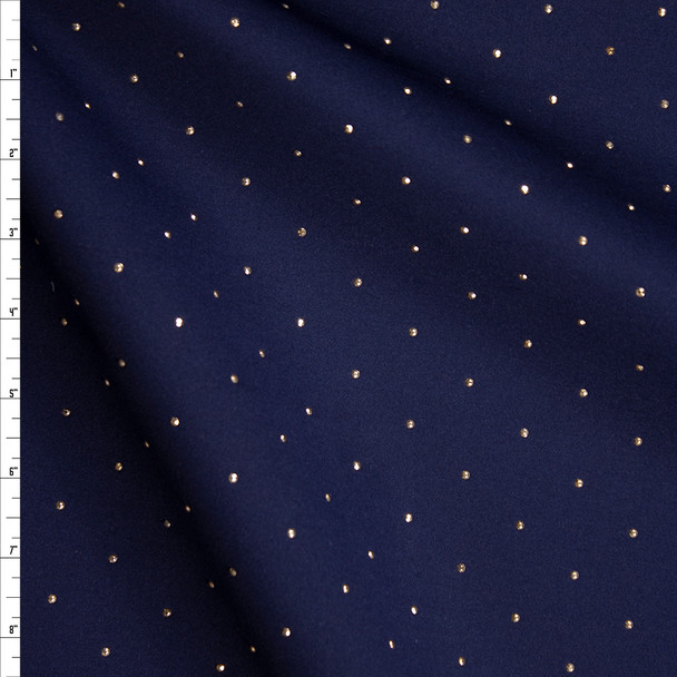 Gold Studs on Navy Double Scuba Knit Fabric By The Yard