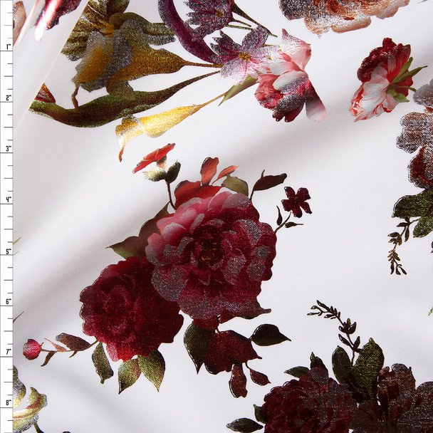 Red and Gold Floral on White Scuba Knit Fabric By The Yard