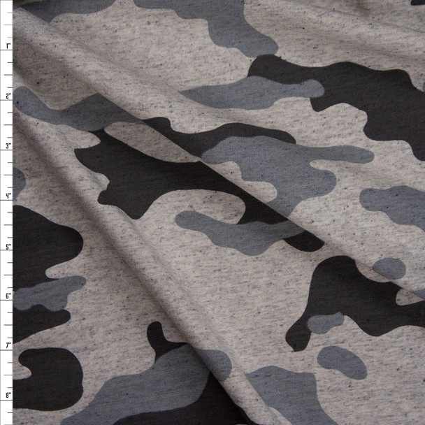 Grey Camouflage on Warm Grey Heather Cotton French Terry Fabric By The Yard