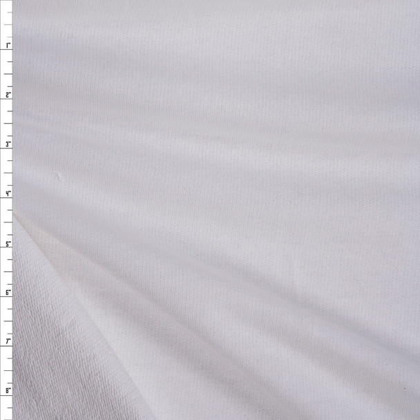 Extra Wide White Midweight Cotton French Terry Fabric By The Yard