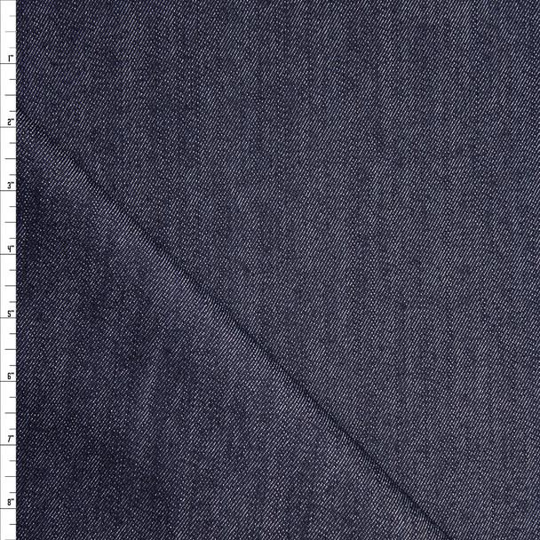 Dark Indigo Blue Designer 10oz Stretch Denim Fabric By The Yard