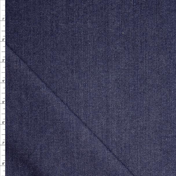 Dark Blue Designer Textured 10oz Stretch Denim Fabric By The Yard