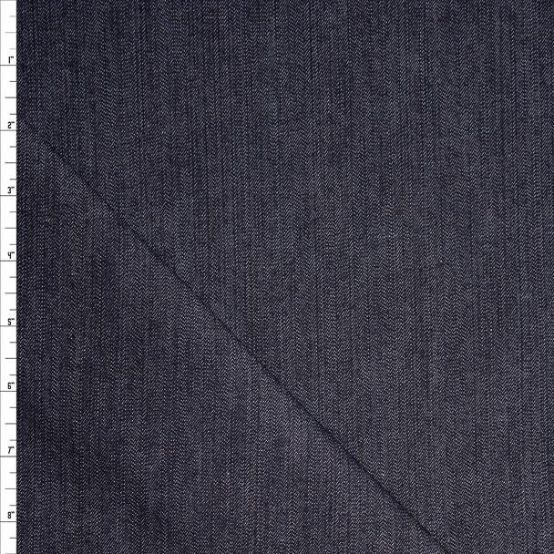 Dark Blue Designer 9oz Textured Stretch Denim Fabric By The Yard