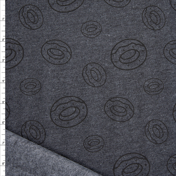 Black on Heather Charcoal Donut Print Midweight Sweatshirt Fleece Fabric By The Yard