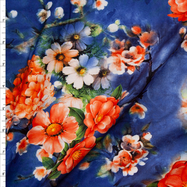 Bright Coral Floral on Navy and Slate Tie Dye Double Brushed Poly/Spandex Fabric By The Yard