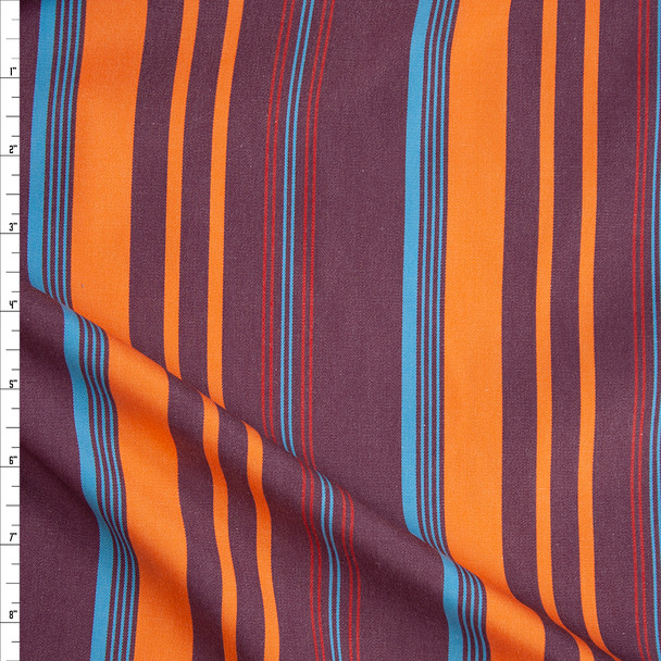 Wine, Orange, Red, and Turquoise Vertical Barcode Stripe Cotton Twill Fabric By The Yard