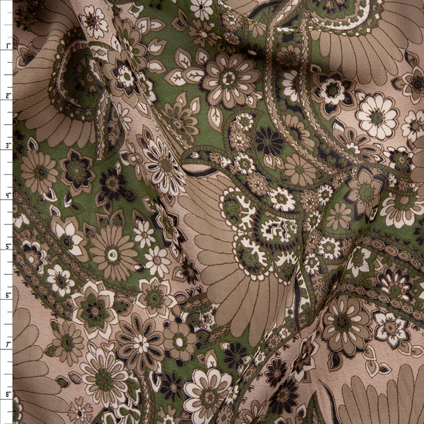Olive, Tan, Brown, and Black Floral Paisley Print Cotton Voile Fabric By The Yard