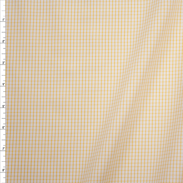 Yellow on White Plaid Midweight Cotton Poplin from 'Brooks Brothers' Fabric By The Yard