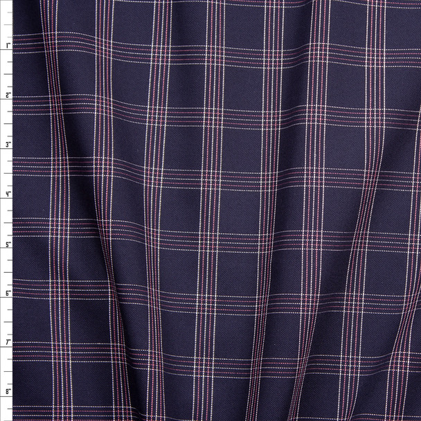 White, Pink, and Navy Plaid Midweight Cotton Poplin from 'Brooks Brothers' Fabric By The Yard