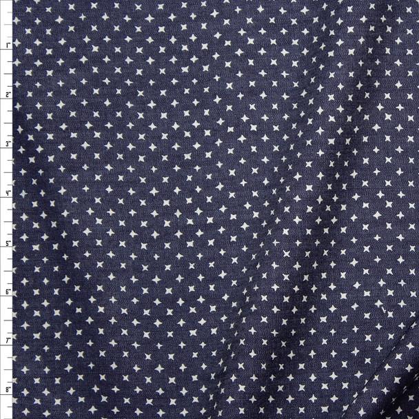 Offwhite Stars on Dark Indigo Cotton Chambray Fabric By The Yard