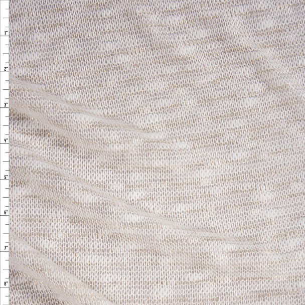 Sparkling Gold on Offwhite Slubbed Loose Sweater Knit Fabric By The Yard