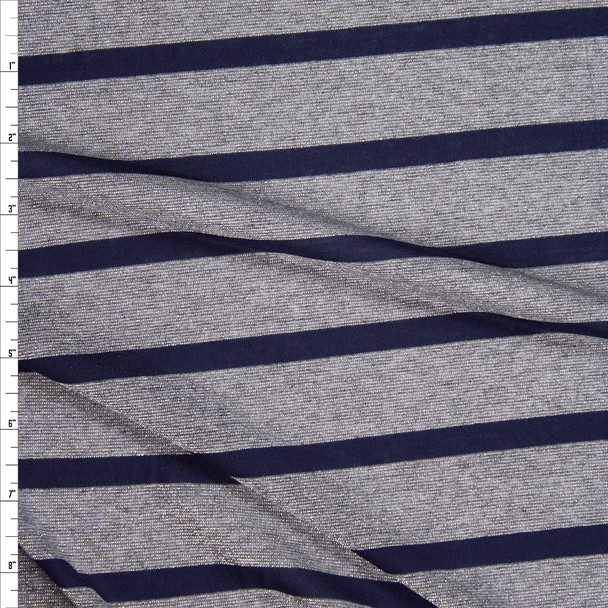 Sparkling Silver Grey and Navy Stripe Lightweight Stretch Jersey Fabric By The Yard