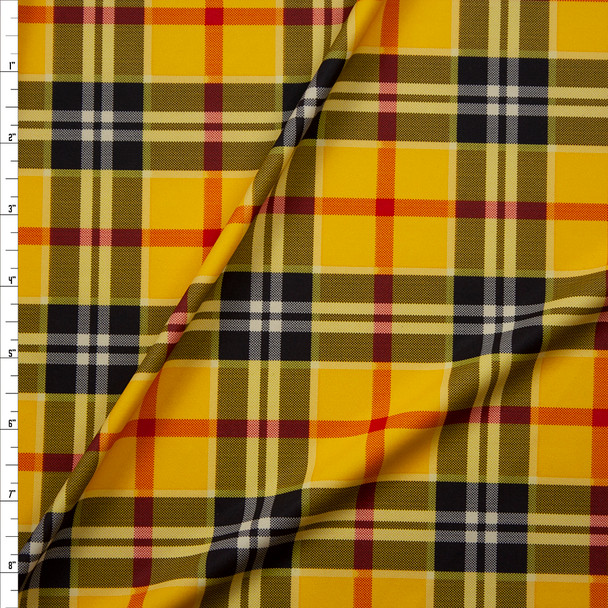 Goldenrod, Black, White, and Red Plaid Nylon Spandex Fabric By The Yard