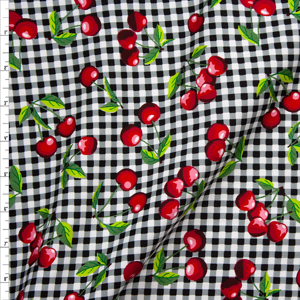 Cherries on Black and White Gingham Stretch Poplin Fabric By The Yard