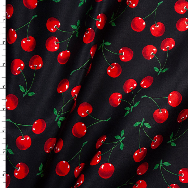 Cherries on Black Stretch Sateen Fabric By The Yard