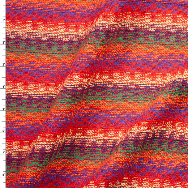 Red, Orange, Ivory, Olive, and Purple Loose Woven Sarape Stripe Fabric By The Yard
