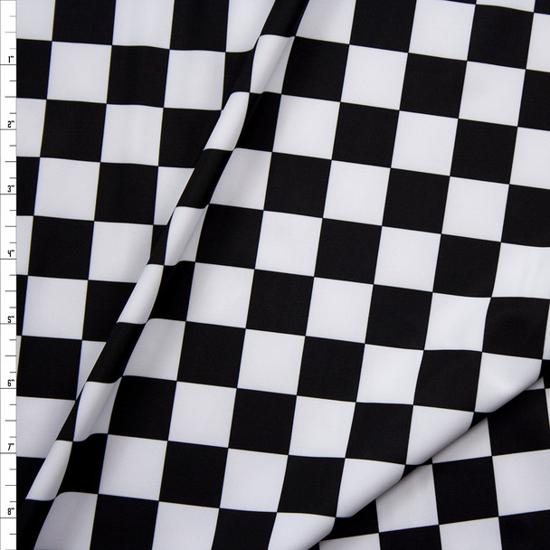 Black and White Checkered Nylon/Spandex Fabric By The Yard