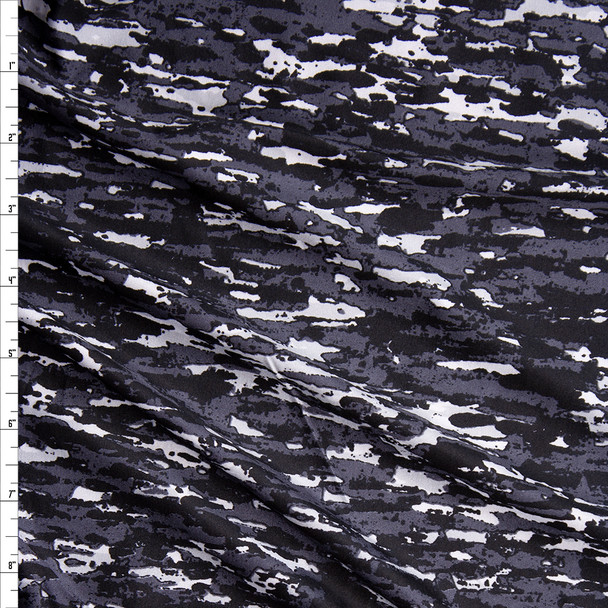 Black, Grey, and White Grunge Micro Camouflage Nylon/Spandex Fabric By The Yard
