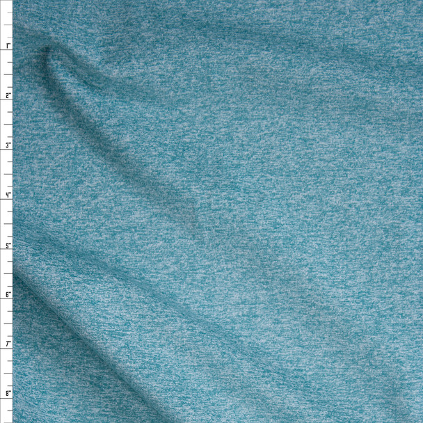 Aqua Heather Brushed Midweight Athletic Knit Fabric By The Yard