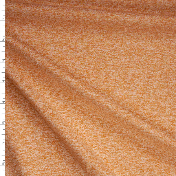 Mustard Heather Brushed Midweight Athletic Knit Fabric By The Yard