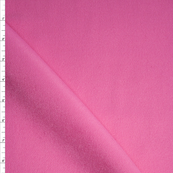 Solid Pink Designer Wool Coating Fabric By The Yard