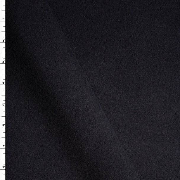 Solid Black Designer Wool Coating Fabric By The Yard