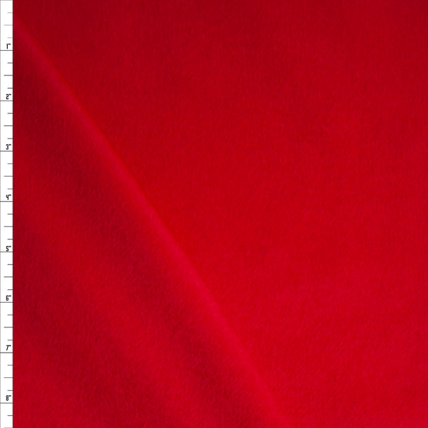 Solid Red Designer Wool Coating Fabric By The Yard